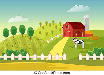 Cartoon vector farm landscape field with farmers buildings and cow. Farm flat landscape.