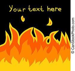Cartoon vector fire card.