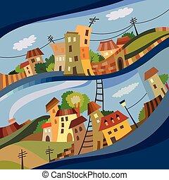 Cartoon vector flat style city