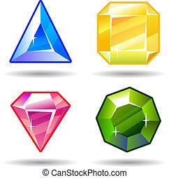 Cartoon vector gems and diamonds game icons