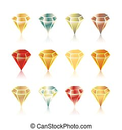 Cartoon vector gems and diamonds icons set in different colors