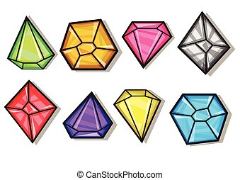 Cartoon vector gems and diamonds icons set in different...