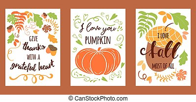 Cartoon vector hand drawn autumn Happy Thanksgiving Day cards. Vertical banners design templates set
