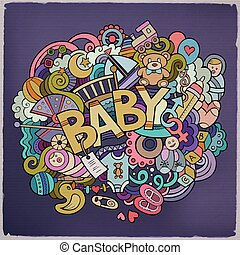 Cartoon vector hand drawn Doodle Baby illustration
