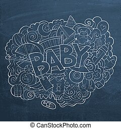 Cartoon vector hand drawn Doodle Baby illustration.