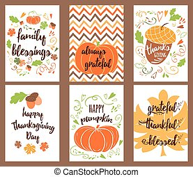 Cartoon vector hand drawn Doodle Happy Thanksgiving Day cards. Vertical banners design templates set