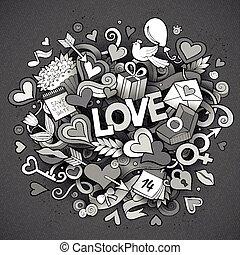 Cartoon vector hand drawn Doodle Love illustration
