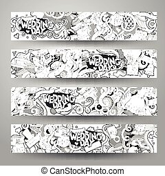 Cartoon vector hand-drawn Doodle on the subject of wedding banners