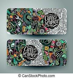 Cartoon vector hand drawn doodles Aautomobile horizontal banners