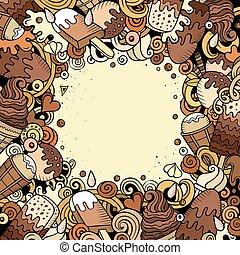 Cartoon vector hand-drawn doodles Ice Cream frame illustration.