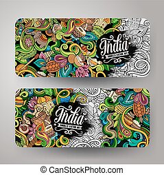 Cartoon vector hand drawn doodles India banners