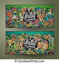 Cartoon vector hand drawn doodles India banners