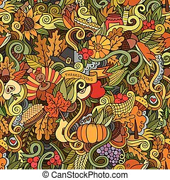 Thanksgiving autumn symbols, food and drinks seamless...