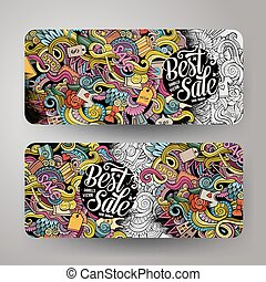 Cartoon vector hand drawn doodles Sale banners