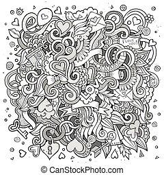 Cartoon vector hand-drawn Love Doodles. Sketchy design background