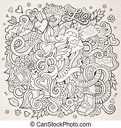 Cartoon vector hand-drawn Love Doodles. Sketchy design background