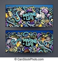 Cartoon vector hand-drawn underwater life banners - Cartoon...