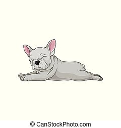 Cartoon vector icon of boston terrier in lying down pose. Sleepy puppy. Small domestic dog with white smooth coat