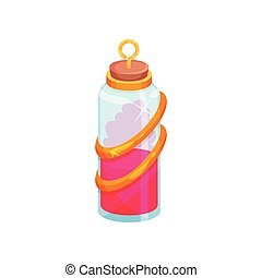 Cartoon vector icon of glass bottle with potion. Small vial with bright pink liquid. Magic elixir