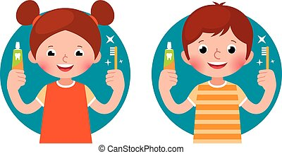 Cartoon vector illustration children girl and boy holding in his hand a toothpaste and a toothbrush