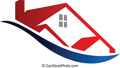 Cartoon vector illustration depicting an Eco house icon outline of a modern red home