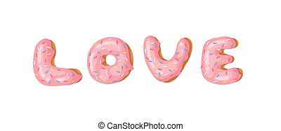 Cartoon vector illustration donut and word LOVE. Hand drawn...