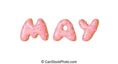 Cartoon vector illustration donut and word MAY. Hand drawn...