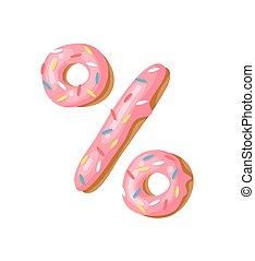 Cartoon vector illustration donut. Hand drawn font with...