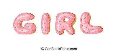 Cartoon vector illustration donut. Hand drawn word GIRL with...