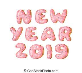 Cartoon vector illustration donut. Hand drawn word NEW YEAR...