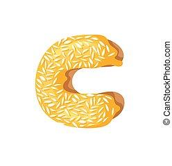 Cartoon vector illustration Donut Letters C. Hand drawn font...