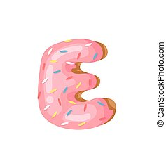 Cartoon vector illustration Donut Letters E. Hand drawn font...