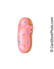 Cartoon vector illustration Donut Letters I. Hand drawn font...