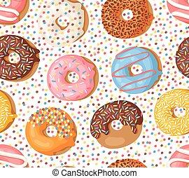 Cartoon vector illustration donuts. Hand drawn seamless...