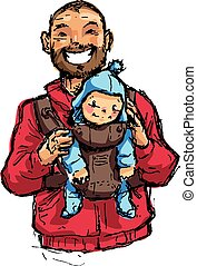 Cartoon vector illustration father with baby son in carrier...