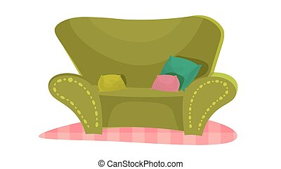 cartoon vector illustration green couch
