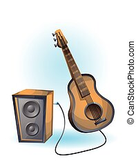 cartoon vector illustration guitar object