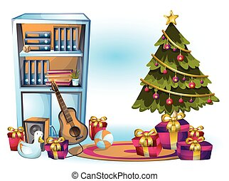 cartoon vector illustration interior christmas object