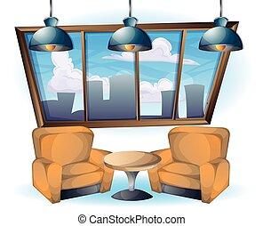 cartoon vector illustration interior office sofa object