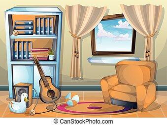Cartoon Vector Illustration Interior Living Room Part 69
