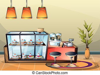 cartoon vector illustration interior cafe room