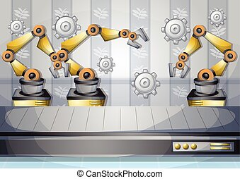 cartoon vector illustration interior factory room with separated layers