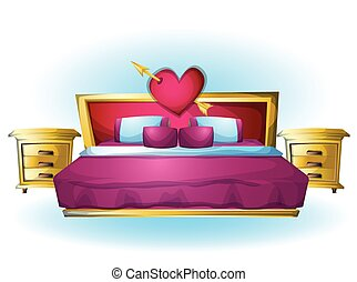 cartoon vector illustration interior Heart bed object