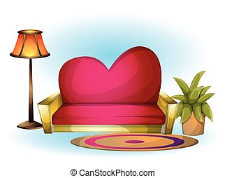 cartoon vector illustration interior Heart chair object