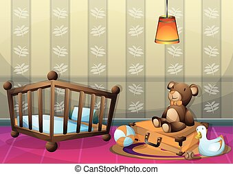 cartoon vector illustration interior kid room with separated layers
