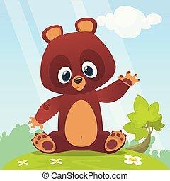 Cartoon vector illustration of a bear