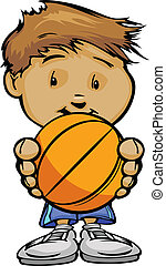 Cartoon Vector Illustration of a Cute Boy Basketball Player with Hands Holding Ball