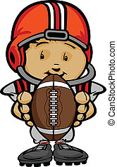 Cartoon Vector Illustration of a Cute Kid Football Player with Hands holding Ball