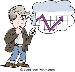 Cartoon Vector illustration of a family man who is thinking of a good financing
