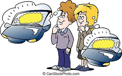 Cartoon Vector illustration of a family there thinking about how their new car can be financed